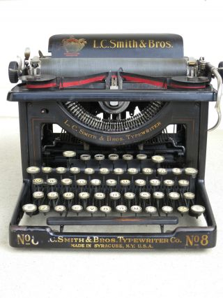 L.  C.  Smith & Bros.  No.  8 Desktop Typewriter,  1915,  Good. photo