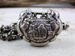 Antique Chinese Sterling Silver Lock Carved Dragon W/ Classical Carved Necklace photo