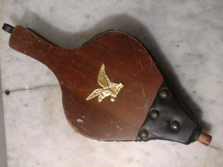 Vintage Fireplace Bellows Wood Leather Brass Emblem photo
