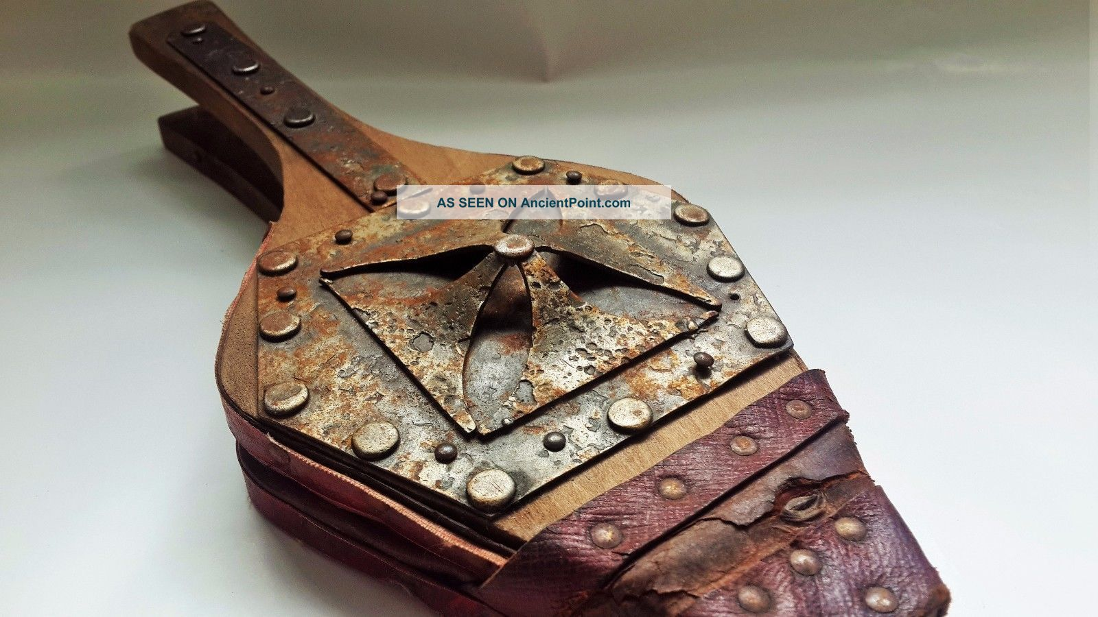 Antique Bellows 18th Century Maltese Cross Steel Leather Wood Made In France Hearth Ware photo