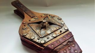 Antique Bellows 18th Century Maltese Cross Steel Leather Wood Made In France photo