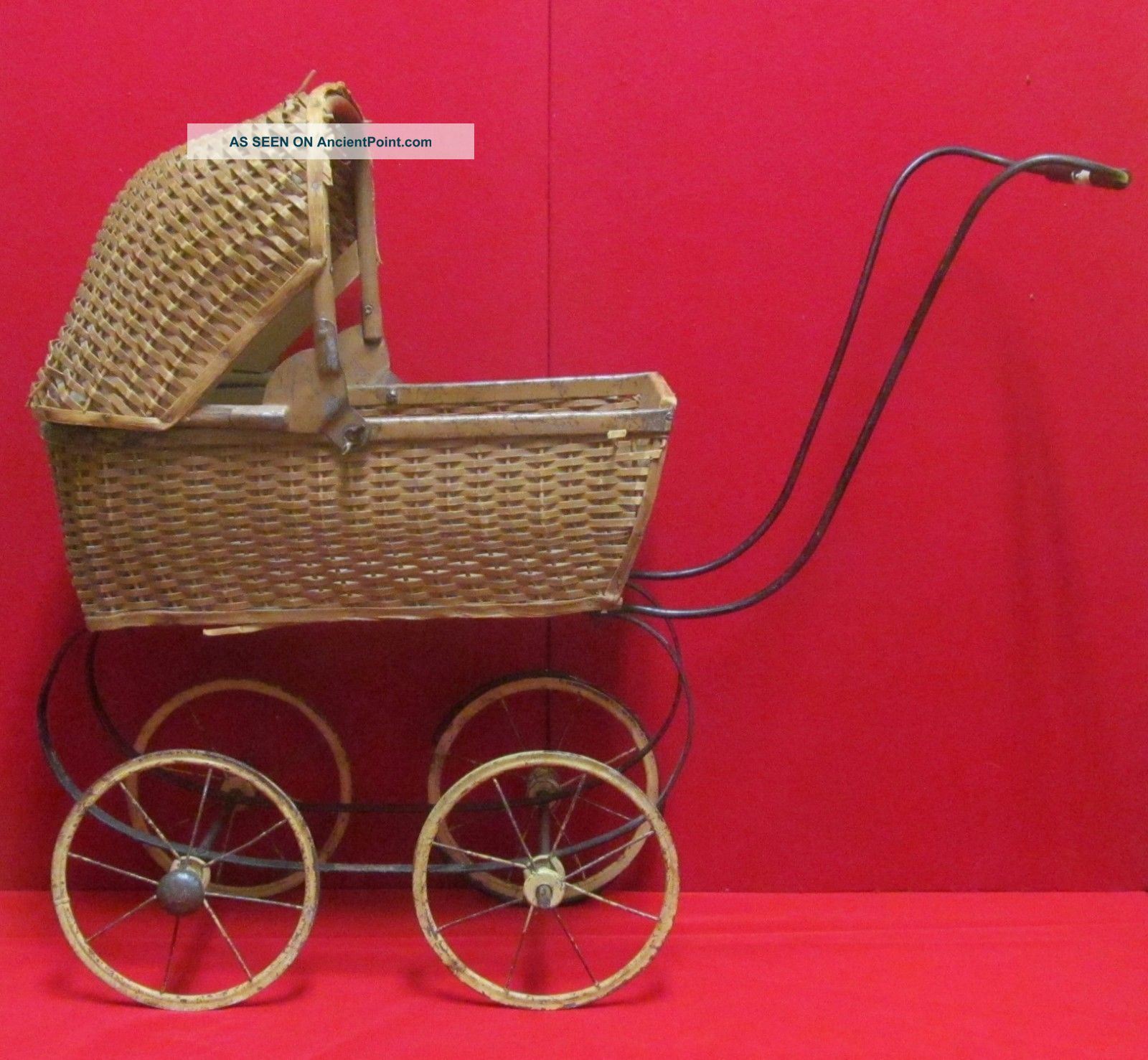 Antique Wooden Weaved Baby Doll Carriage Baby Carriages & Buggies photo
