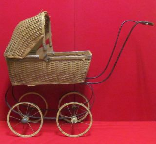 Antique Wooden Weaved Baby Doll Carriage photo