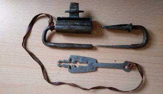 35 Old Antique Islamic Yemeni Iron Lock Hand Made Signed photo