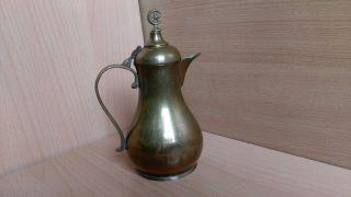 34 Old Antique Islamic Ottoman Dallah Arabic Pot Jug Jar Brass photo