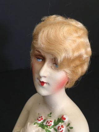 Antique Art Deco Chalkware Half Doll 1925 Blonde Mohair Roses Paris Apt Ar1104 photo