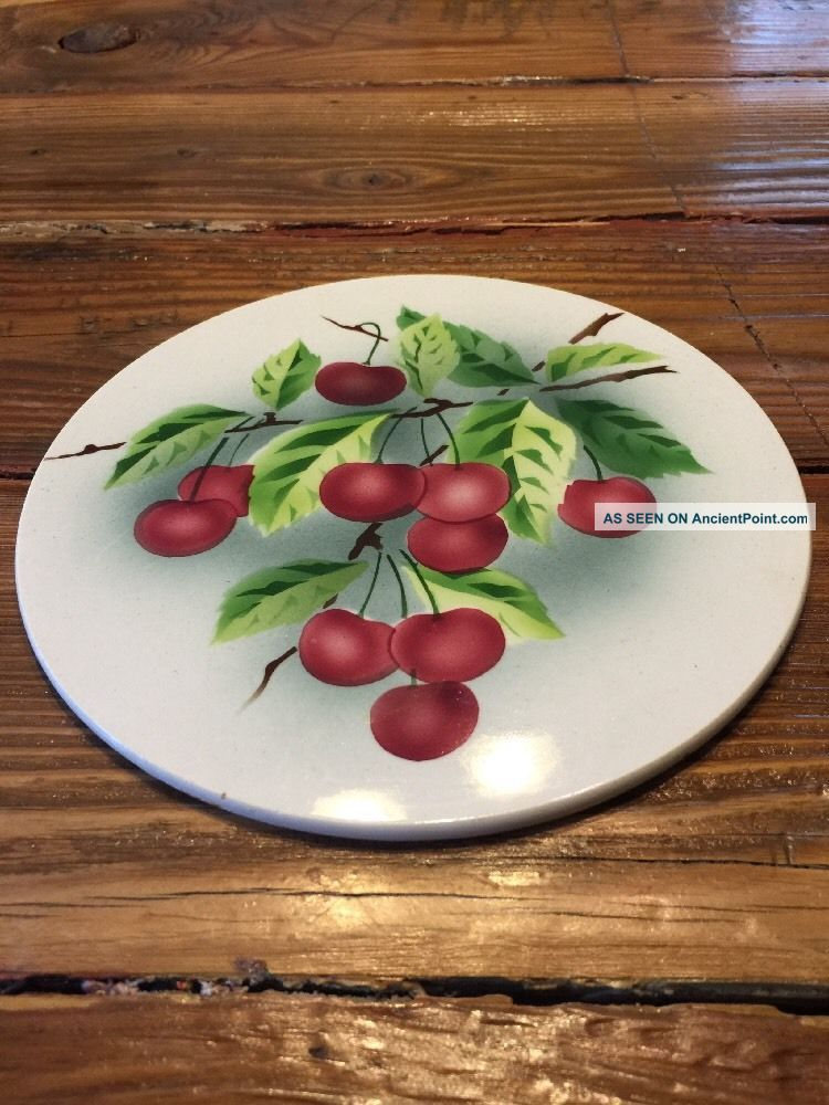 Vintage Antique Porcelain China Round Trivet With Cherries Hot Plate Germany Trivets photo