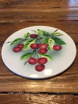 Vintage Antique Porcelain China Round Trivet With Cherries Hot Plate Germany photo