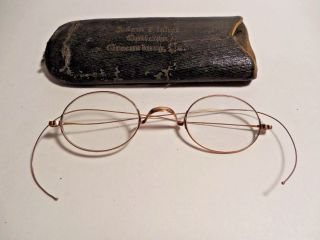 Vintage 1920 ' S Gold Wire Rim Reading Glasses Comes In The Leather Case photo