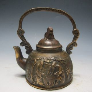 Chinese Bronze Handwork Carved Teapot & Old Man photo