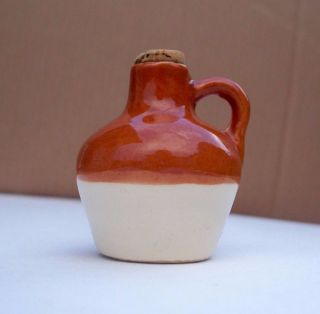Tiny,  Mini,  Small Vintage Glazed Stoneware Type Jug With Cork,  2 1/4