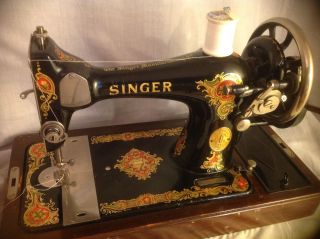 Antique 1910 Singer Hand Crank Sewing Machine W/ Bentwood Case Serial G0904670 photo