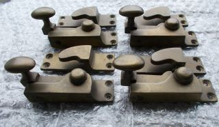 4 X Reclaimed Brass Sash Window Fastener Catch / Latch & Recievers photo