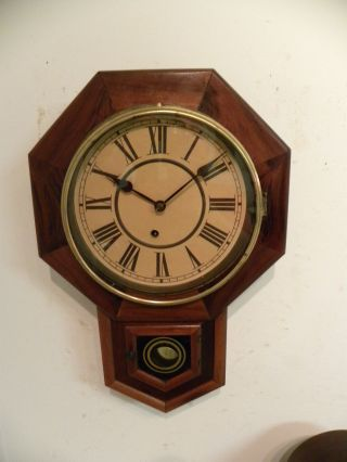 Antique American Waterbury Time Only Drop Octagon Fine Wall Clock,  Running photo