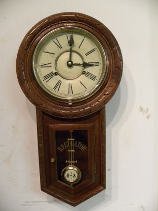 Vintage Long Drop Hand Carved Regulator Wall Clock And Running Fine photo
