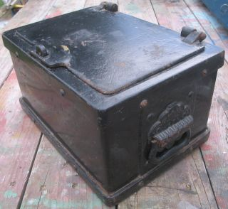 Strong Box Stagecoach Train Safe Bank Antique 1800s Cast Iron photo
