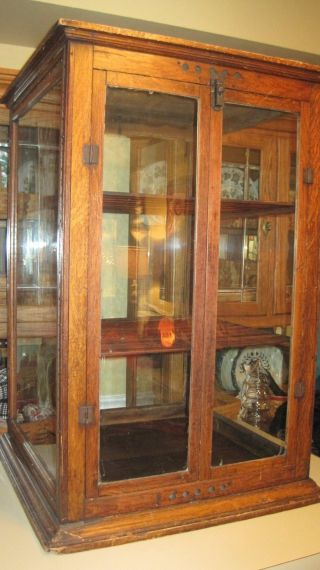 1897 Schwanbeck Bros Oak Pie Safe Bread Cheese Cracker Store Display Case photo