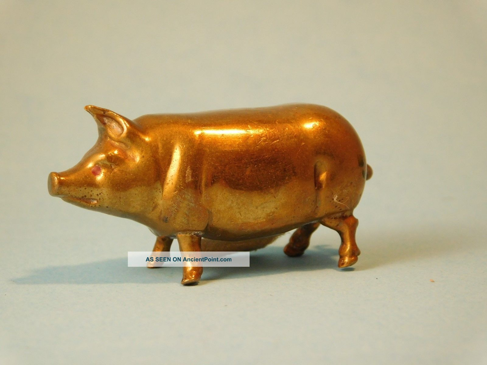 Antique Figural Brass Pig Turning Tail Sewing Fabric Tape Measure Other Antique Sewing photo