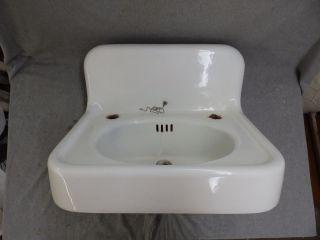Antique Cast Iron White Porcelain Sink Vtg Bathroom Standard Plumbing 1598 - 16 photo