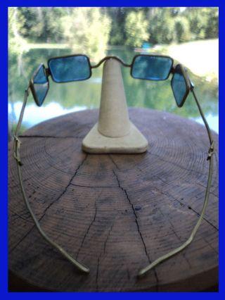 Vtg Civil War Era Goggles Eyeglasses Sunglasses Blue 4 Lens Tr & Bro Steampunk photo