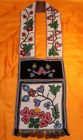 Antique Native American Ojibwe Plains Indian Beaded Bandolier Bag 1870 photo