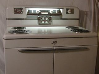 Pristine 1940 ' S L & H Electric Stove Double Oven,  Porcelain & Chrome, photo