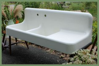 Dual Basin With Drainboard 1927 Standard Antique Vintage Farmhouse Farm Sink photo