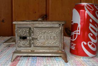 C.  1900 Little Eagle Cast Iron Toy Stove,  Hubley,  Antique,  Complete W/side Shelf photo