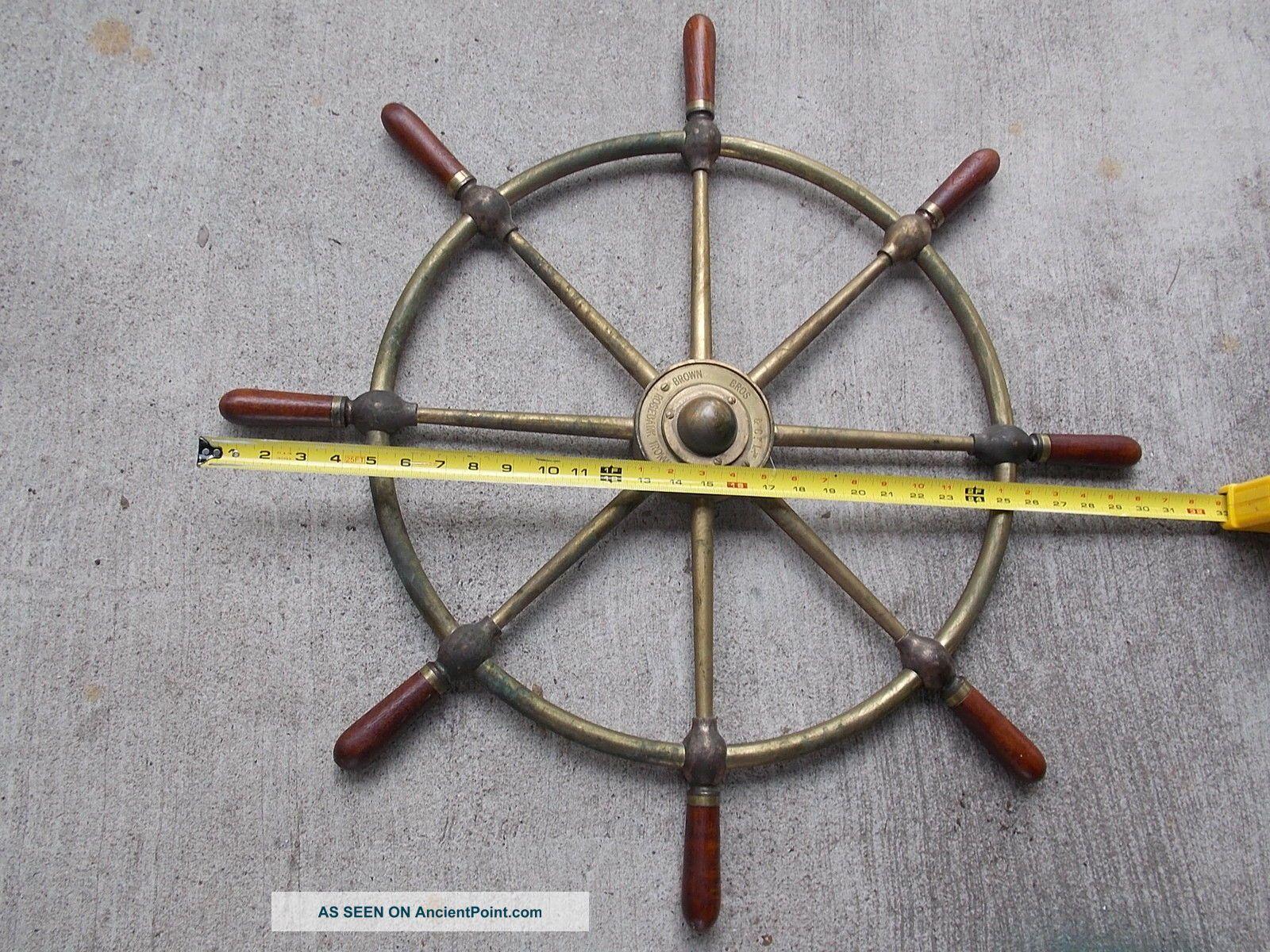 Brown Bros & Co Rosebank Ironworks Edinburgh Ships Helm Wheel 30