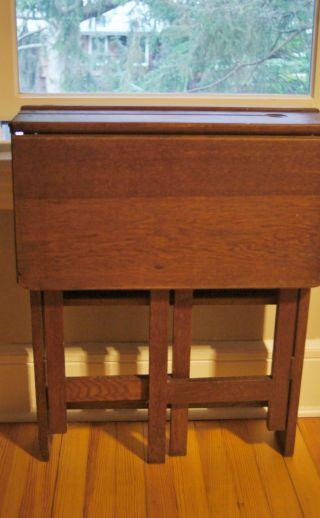 Antique Oak Mission Folding Desk Great Arts & Crafts Style Folds To 6