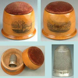 Antique Mauchline Ware Thimble Case/pincushion Conwy Sterling Silver Thimble photo