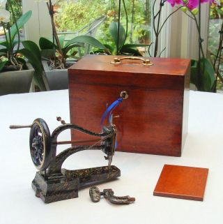 Mid C19th Miniature Sewing Machine Fitted Mahogany Case Key Paris C1860 photo