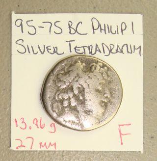 95 - 75 Bc Seleucid Kingdom Philip I Ancient Greek Silver Tetradrachm F photo