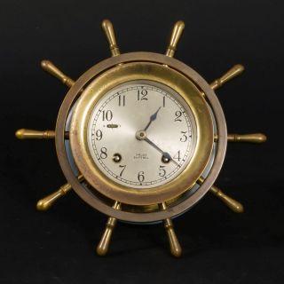 Vtg Chelsea Ship ' S Bell Mariner Hanging Clock On Plaque Brass Wheel 3.  75
