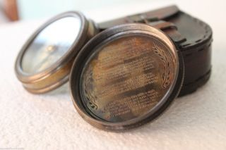 Antique Vintage Collectible Poem Pocket Compass With Robert Frost Poem Inside photo