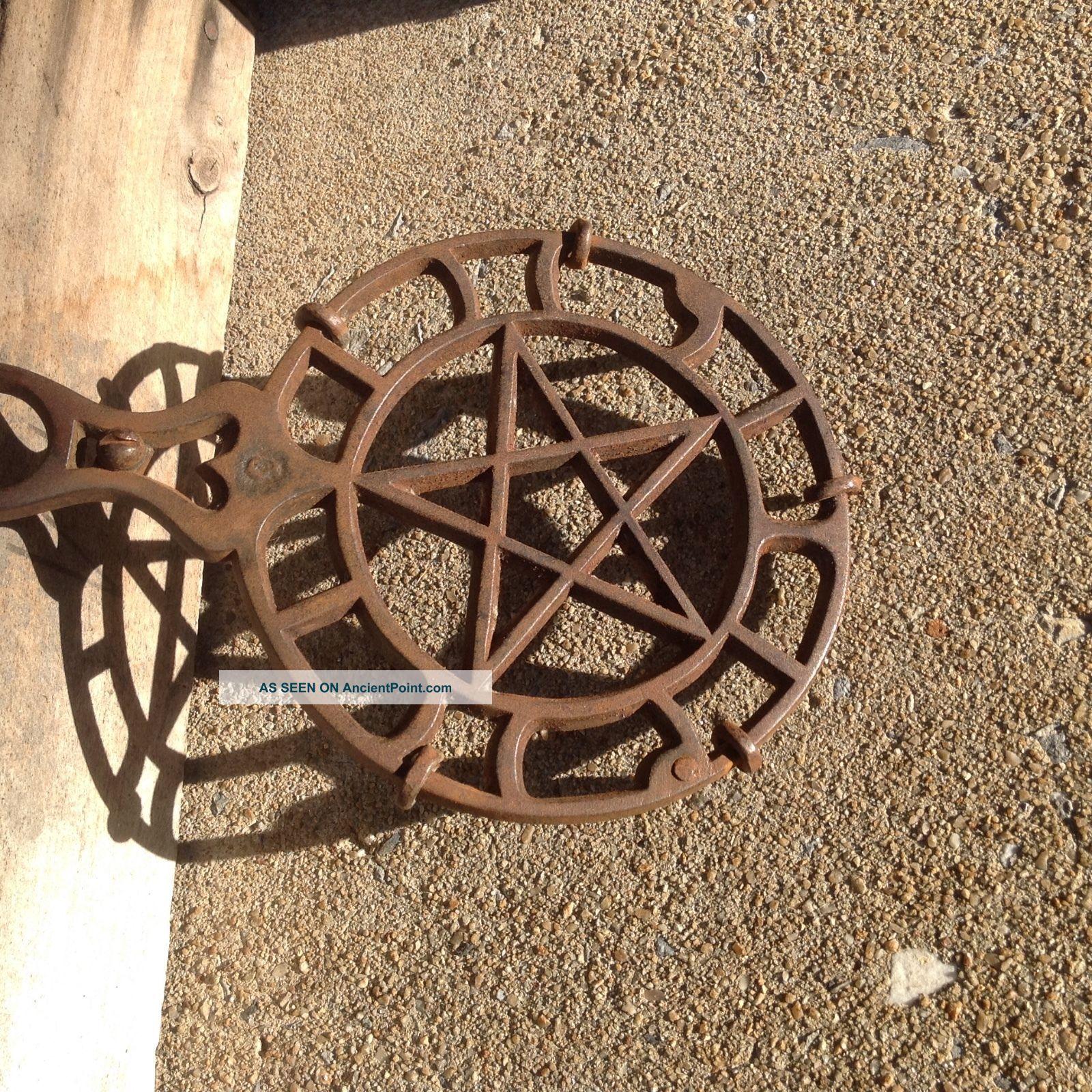 Cast Iron Trivet Wall Hanging Vintage Star Pentagram Heart Griswold? Footed Trivets photo