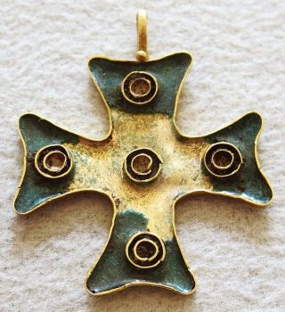 Ca.  500 - 1000 A.  D.  Gold Byzantine Enamel Cross Pendant