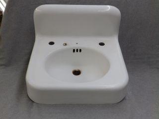 Antique Cast Iron White Porcelain Sink Vtg Bathroom Old Kohler Plumbing 1601 - 16 photo