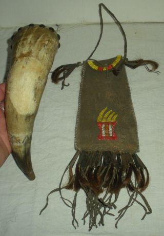 Antique C.  1850 Plains Native American Indian Bear Claw Pouch & Powderhorn Vafo photo