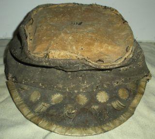 Antique C.  1850 - 60s Native American Indian Leather Kepi Cap Civil War Style Vafo photo