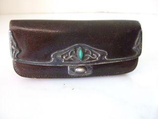 True Antique German Art Nouveau Leather Purse Sterling Silver Decoration photo