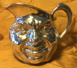 Vtg Reed & Barton 5640 Silverplate Hollowware Sunny Jim Face 64oz Water Pitcher photo