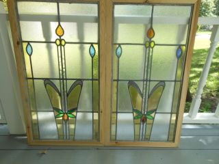 L148 Large Lovely Older Leaded Stain Glass Window F/england Reframed 2 Available photo