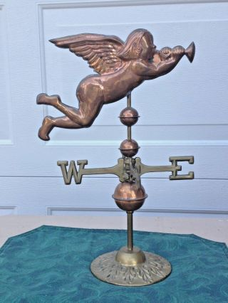 Vintage Antique Brass & Copper Angel Blowing Horn Weathervane Table Top Folk Art photo