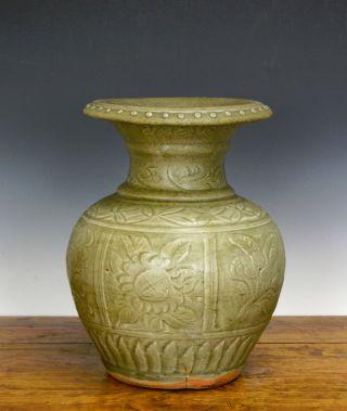Large Old Chinese Ming Celadon Longquan Floral Body Porcelain Vase photo