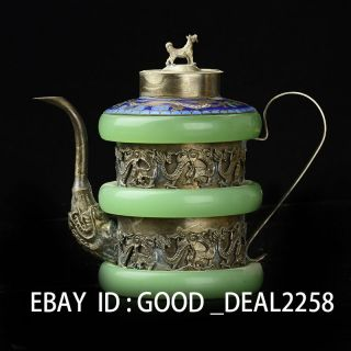 China Handwork Old Decorated Copper Teapot Armored Dragon Frog Monkey photo