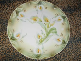 Rs Prussia/ Germany Style Calla Lily Charger Fancy Victorian Molding Pearlized photo