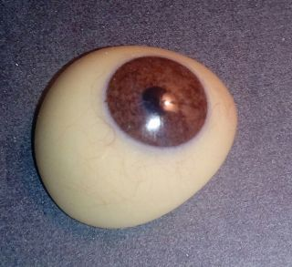 Antigue Pre - Wwii German Medical Human Prosthetic Glass Eye Red - Brown Iris Olive photo