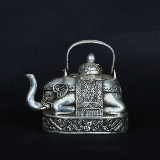 Tibet Silve Copper Hand - Carved Elephant Shape Teapot W Xuande Mark Csy617 photo