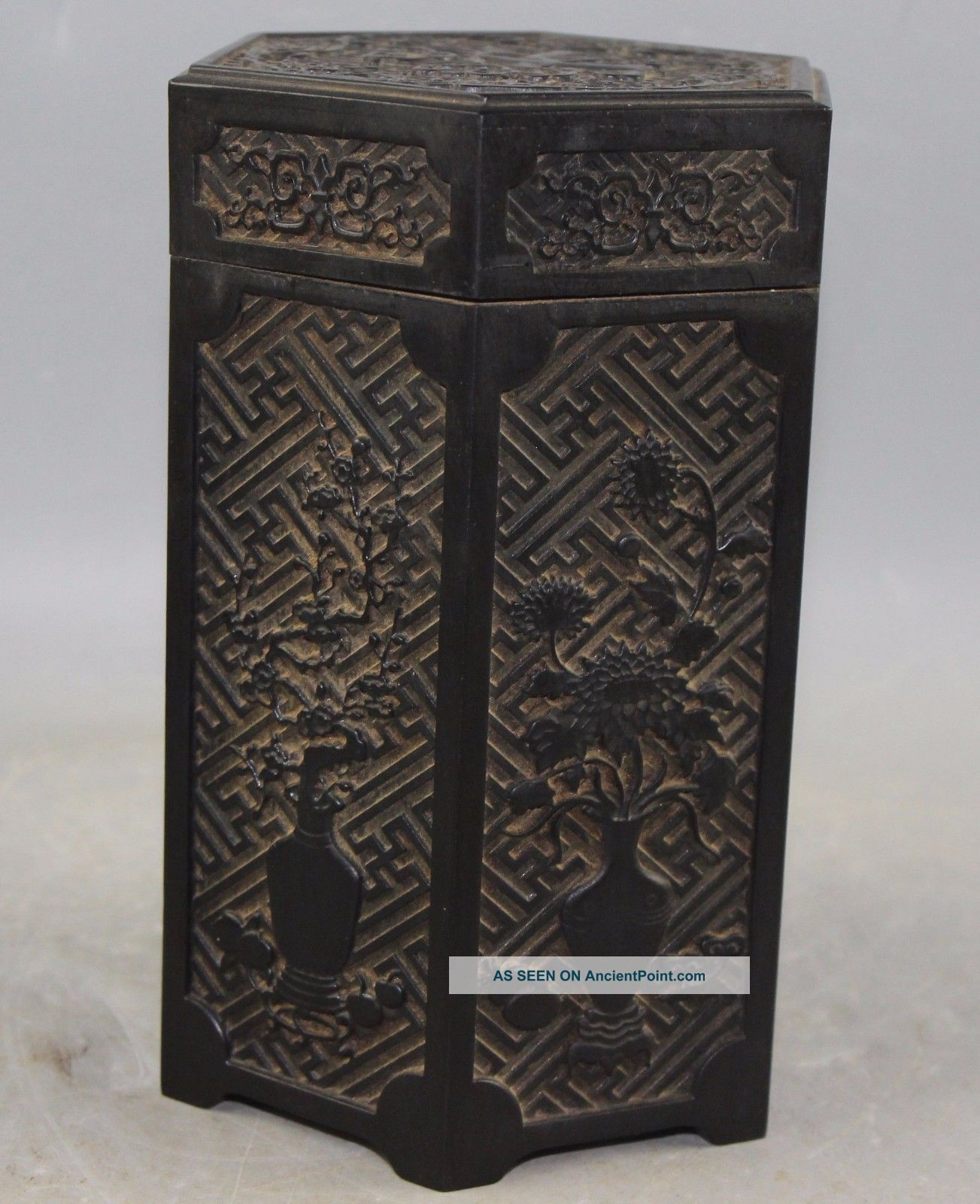 Chinese Old Wood Made Carved Human Pot Poetry Hexagon Tea Caddy Box Boxes photo
